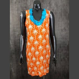 Tracy Negoshian Orange Printed Tropical Tank Dress